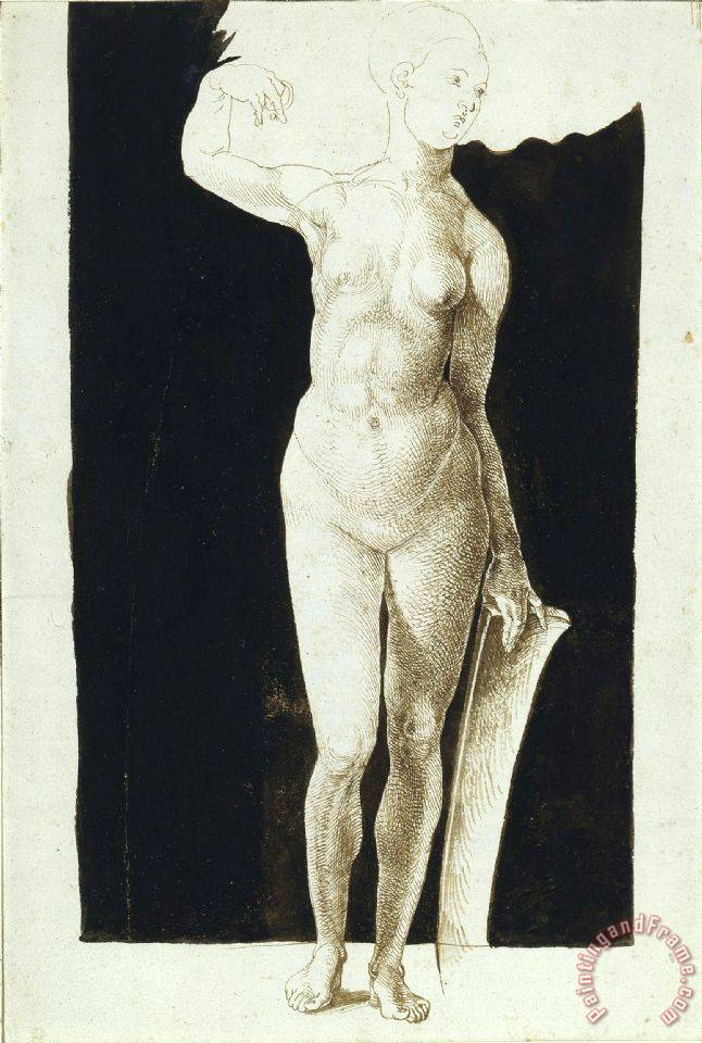 Albrecht Durer Proportion Study of Female Nude with a Shield Art Print