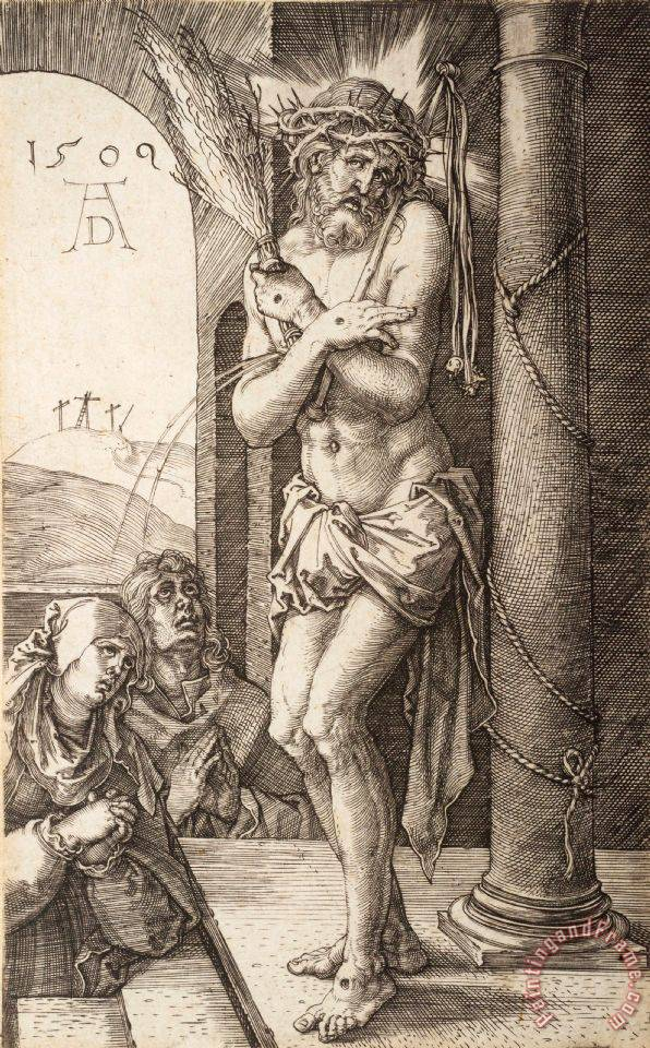The Man of Sorrows by The Column with The Virgin And St. John, From The Engraved Passion painting - Albrecht Durer The Man of Sorrows by The Column with The Virgin And St. John, From The Engraved Passion Art Print