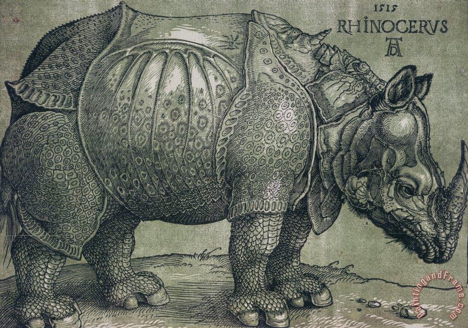 Blue Rhinoceros Painting