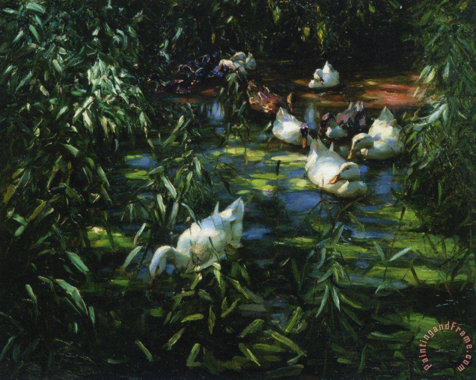 Alexander koester enten im schilfteich painting enten im for Pond reeds for sale
