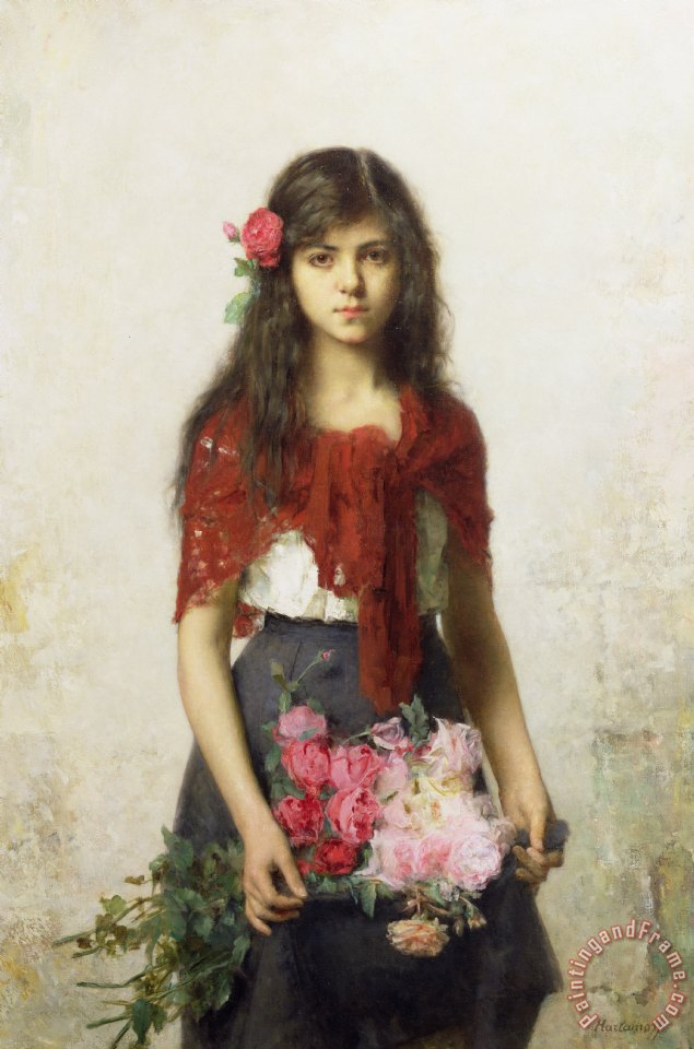 Young girl with blossoms painting - Alexei Alexevich Harlamoff Young girl with blossoms Art Print
