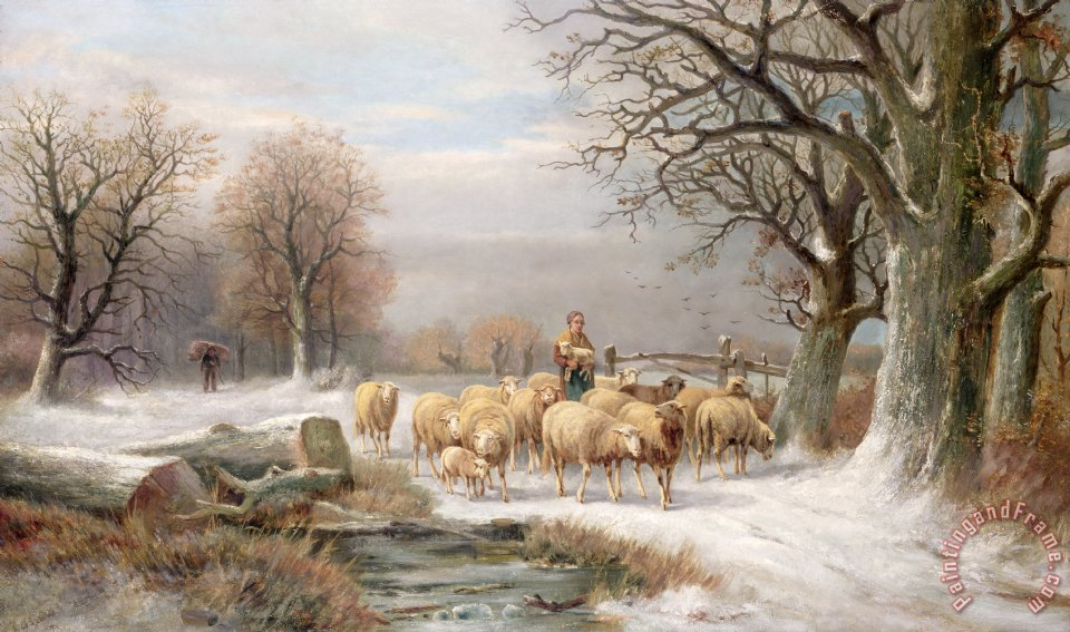 Shepherdess with her Flock in a Winter Landscape painting - Alexis de Leeuw Shepherdess with her Flock in a Winter Landscape Art Print