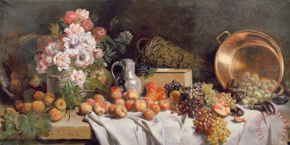 Still Life With Flowers And Fruit On A Table Painting