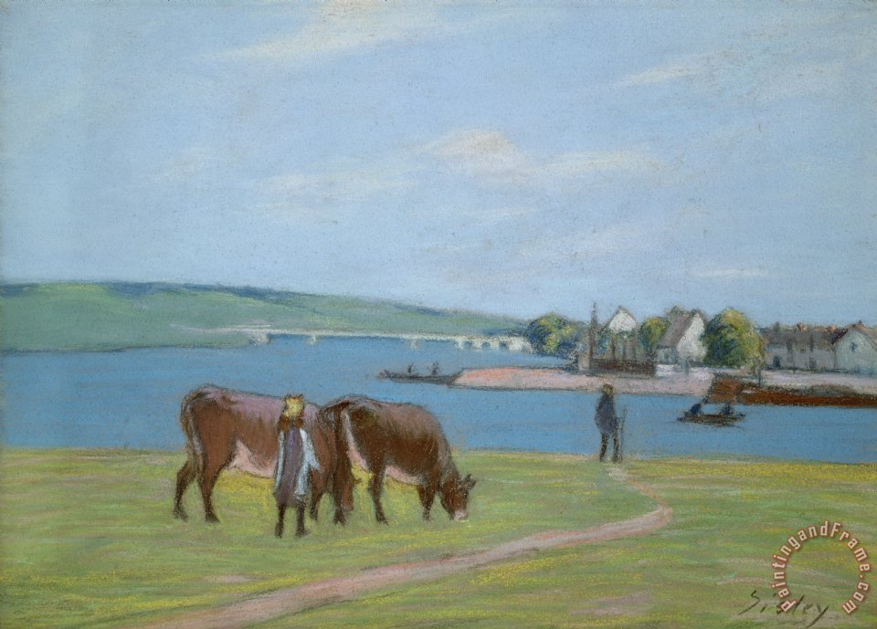Alfred Sisley Cows on the Banks of the Seine at Saint Mammes Art Painting