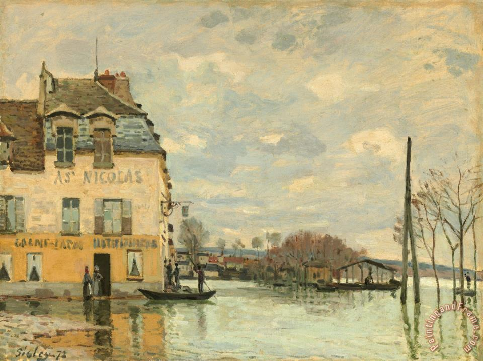 Alfred sisley flood at port marly painting flood at port - Point p port marly ...