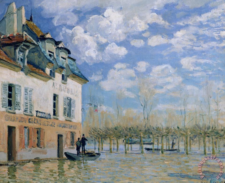 The Boat in The Flood, Port Marly painting - Alfred Sisley The Boat in The Flood, Port Marly Art Print