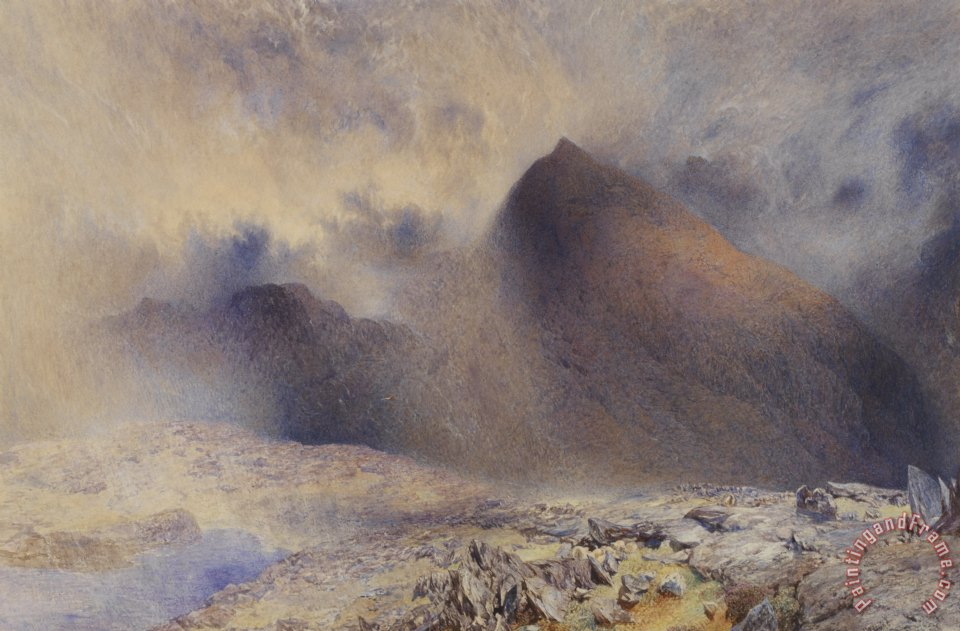 Alfred William Hunt Mount Snowdon through Clearing Clouds Art Print