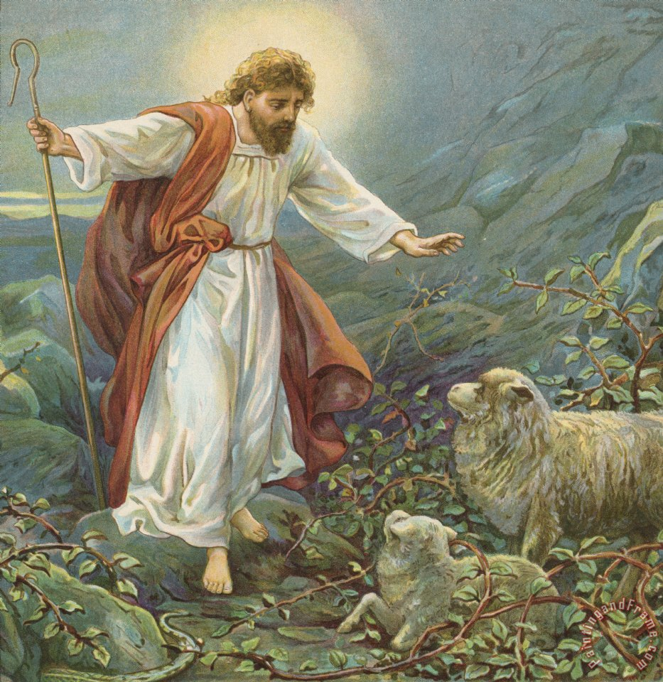 Jesus Christ The Tender Shepherd painting - Ambrose Dudley Jesus Christ The Tender Shepherd Art Print