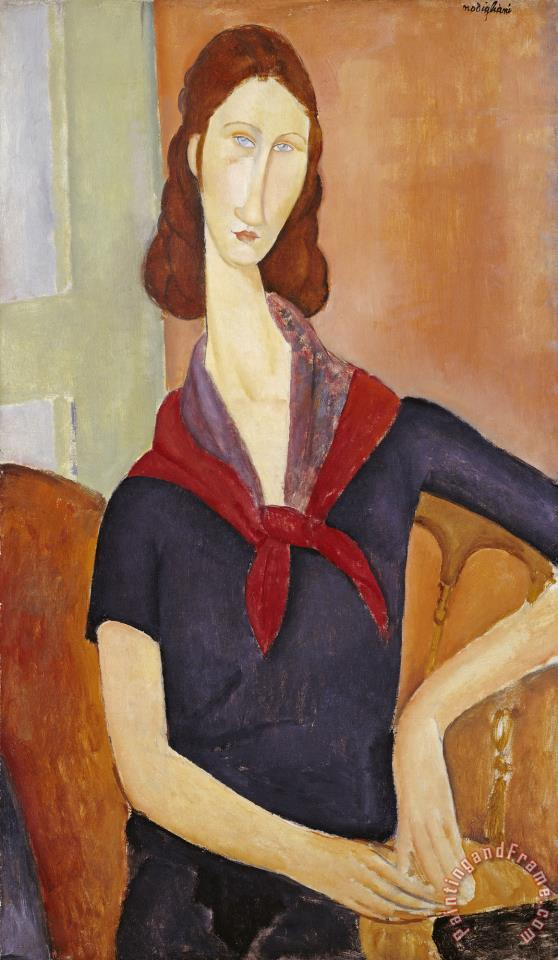 Jeanne Hebuterne (with a Scarf) painting - Amedeo Modigliani Jeanne Hebuterne (with a Scarf) Art Print