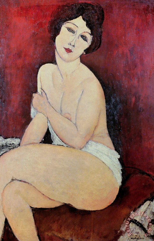 Large Seated Nude painting - Amedeo Modigliani Large Seated Nude Art Print