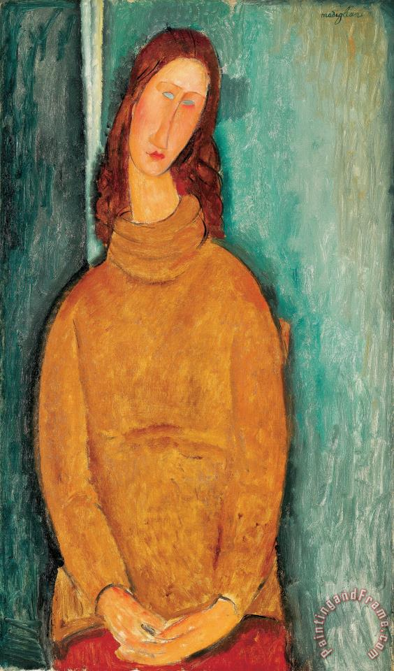 Portrait of Jeanne Hebuterne painting - Amedeo Modigliani Portrait of Jeanne Hebuterne Art Print