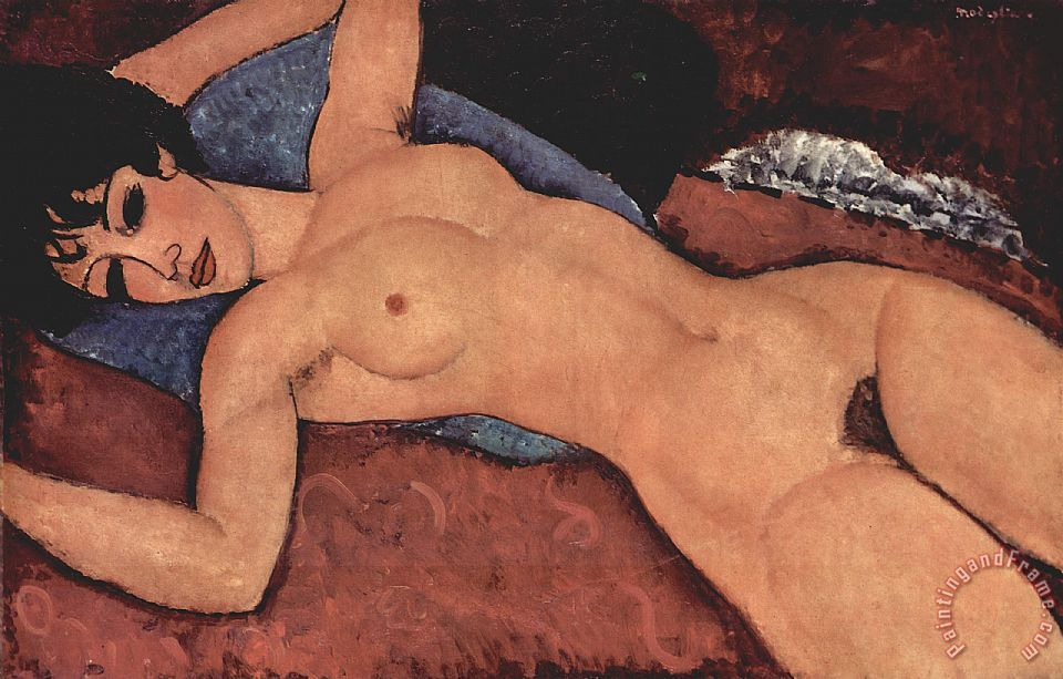 Red Female Nude Painting painting - Amedeo Modigliani Red Female Nude Painting Art Print