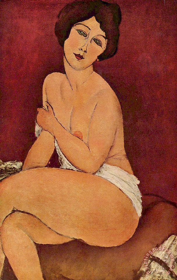 Seated Female Nude painting - Amedeo Modigliani Seated Female Nude Art Print