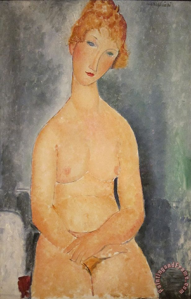 Seated Nude Woman Painting painting - Amedeo Modigliani Seated Nude Woman Painting Art Print