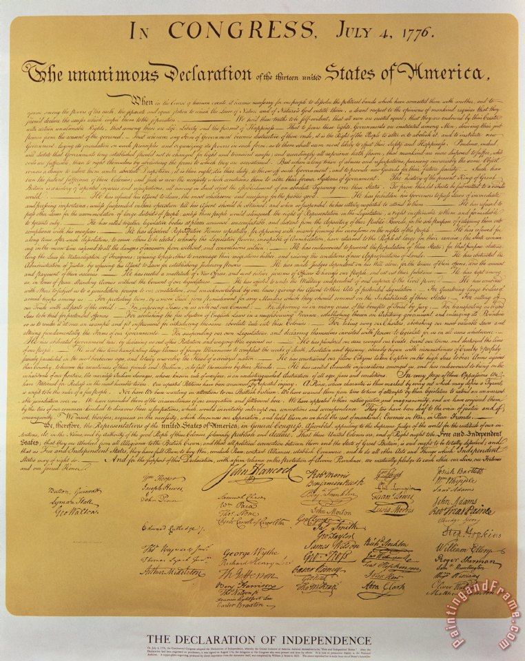 Declaration of Independence painting - American School Declaration of Independence Art Print