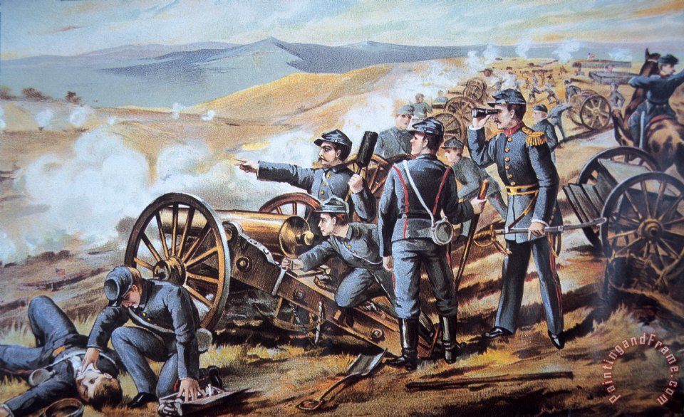 American School Federal Field Artillery In Action During