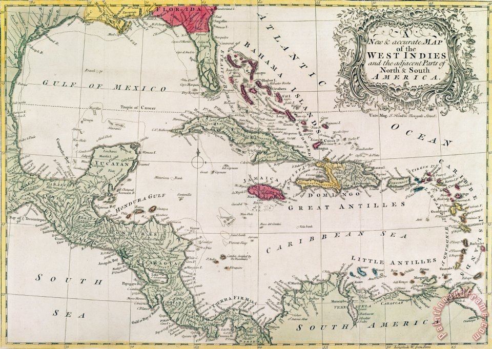 American School New and accurate map of the West Indies painting New and ac