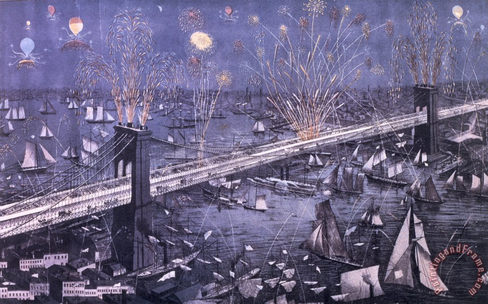 Opening of the Great New York and Brooklyn Bridge and grand display of fire works painting - American School Opening of the Great New York and Brooklyn Bridge and grand display of fire works Art Print
