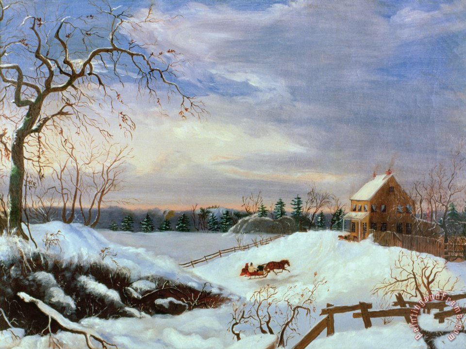 Snow scene in New England painting - American School Snow scene in New England Art Print
