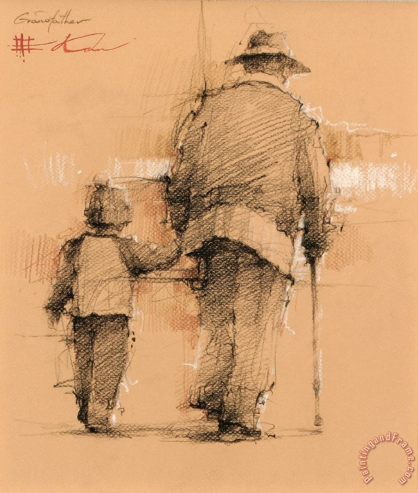 Grandfather painting - Andre Kohn Grandfather Art Print