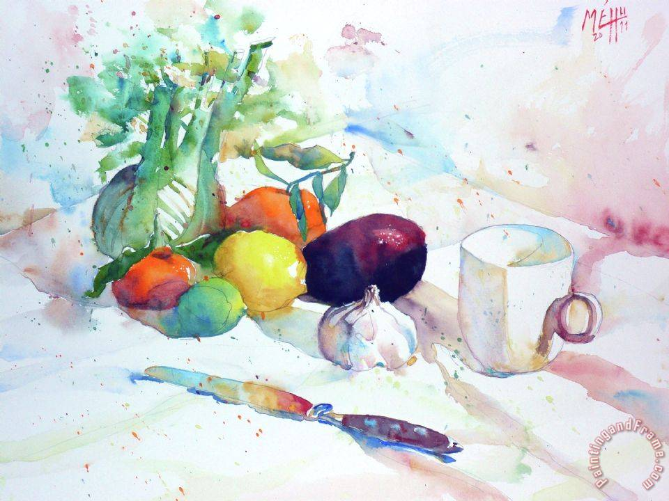 Andre Mehu Cup fruits and vegetables Art Print