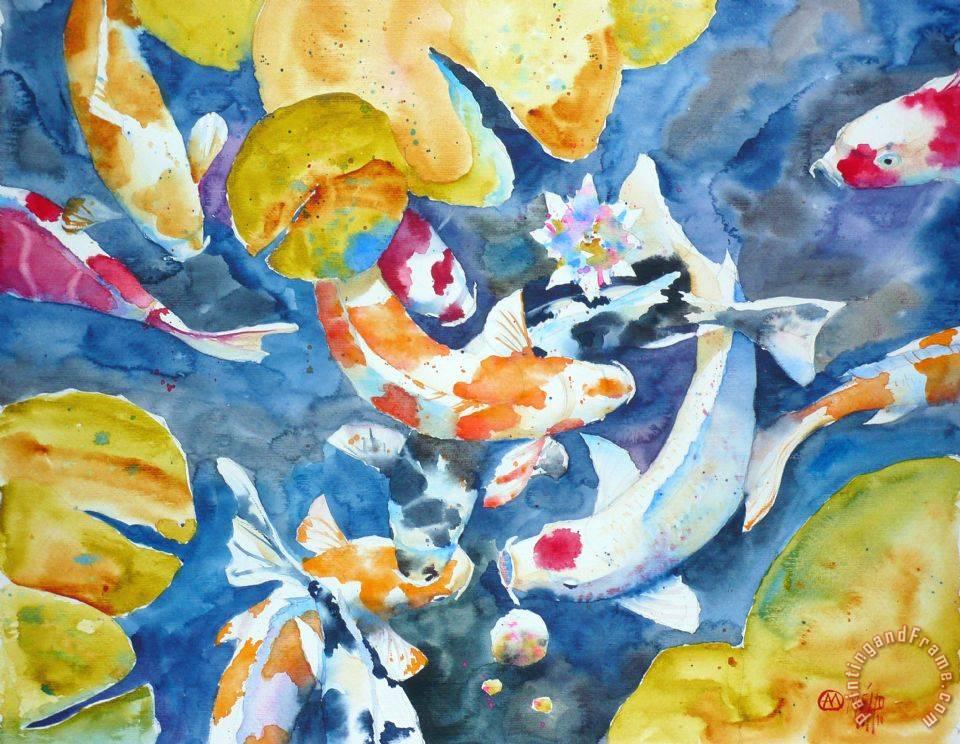 Andre mehu koi 14 painting koi 14 print for sale for Koi prints for sale
