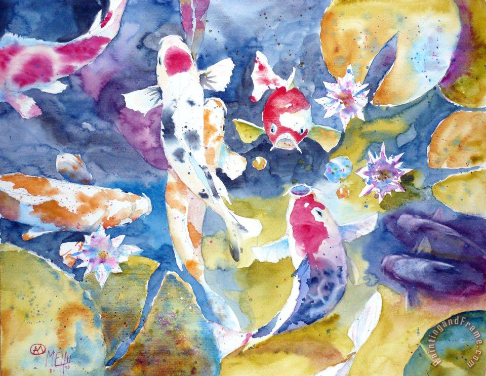 Andre mehu koi 24 painting koi 24 print for sale for Koi canvas print