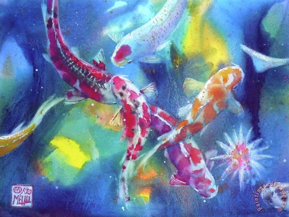 Koi in a pond painting - Andre Mehu Koi in a pond Art Print