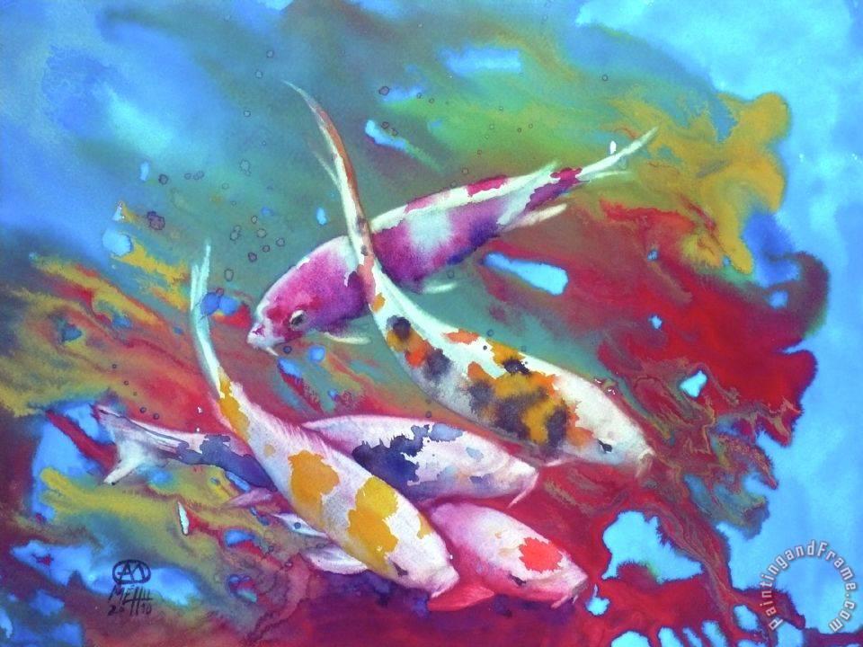Andre mehu koi in red algaes painting koi in red algaes for Koi prints for sale