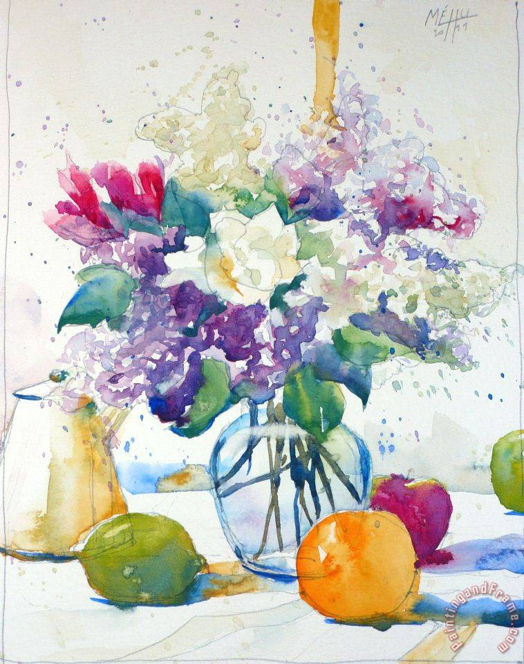 Sketch with lilac and freesia painting - Andre Mehu Sketch with lilac and freesia Art Print