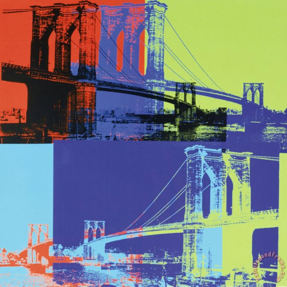 Brooklyn Bridge C 1983 Orange Blue Lime painting - Andy Warhol Brooklyn Bridge C 1983 Orange Blue Lime Art Print