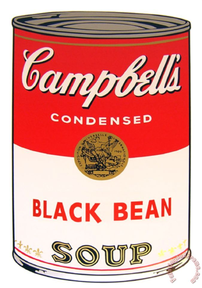 andy warhol campbell s soup black bean art painting for sale. Black Bedroom Furniture Sets. Home Design Ideas