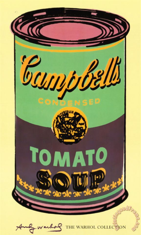 andy warhol campbell s soup can 1965 green and purple painting campbell s soup can 1965 green. Black Bedroom Furniture Sets. Home Design Ideas