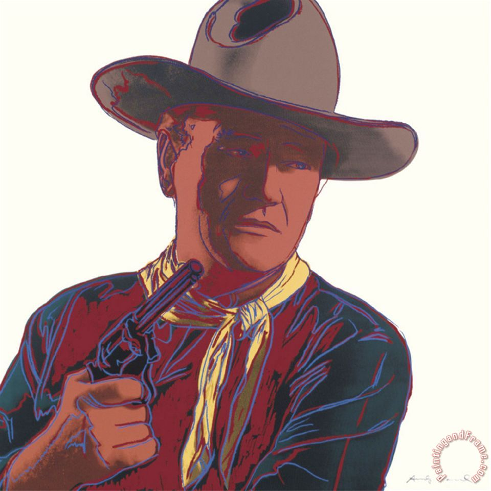 Cowboys And Indians John Wayne 201 250 1986 painting - Andy Warhol Cowboys And Indians John Wayne 201 250 1986 Art Print