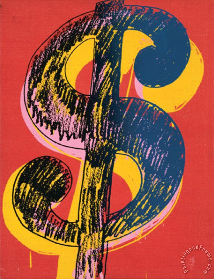 Dollar Sign C 1981 Black And Yellow On Red Painting Andy Warhol