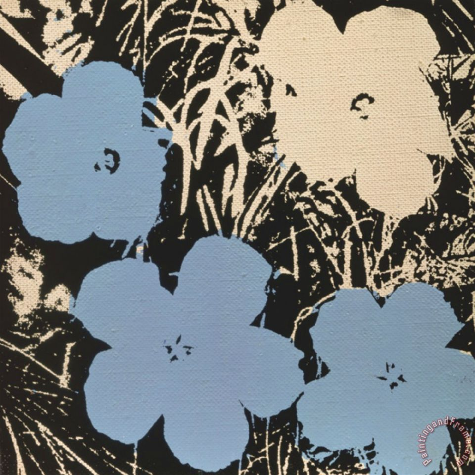 Andy Warhol Flowers C 1965 3 Blue 1 Ivory painting - Flowers C ...