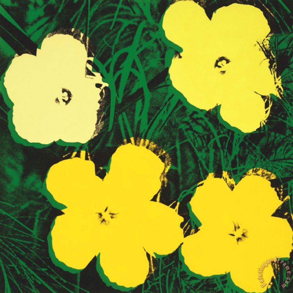 Andy Warhol Flowers C 1970 4 Yellow painting - Flowers C ...