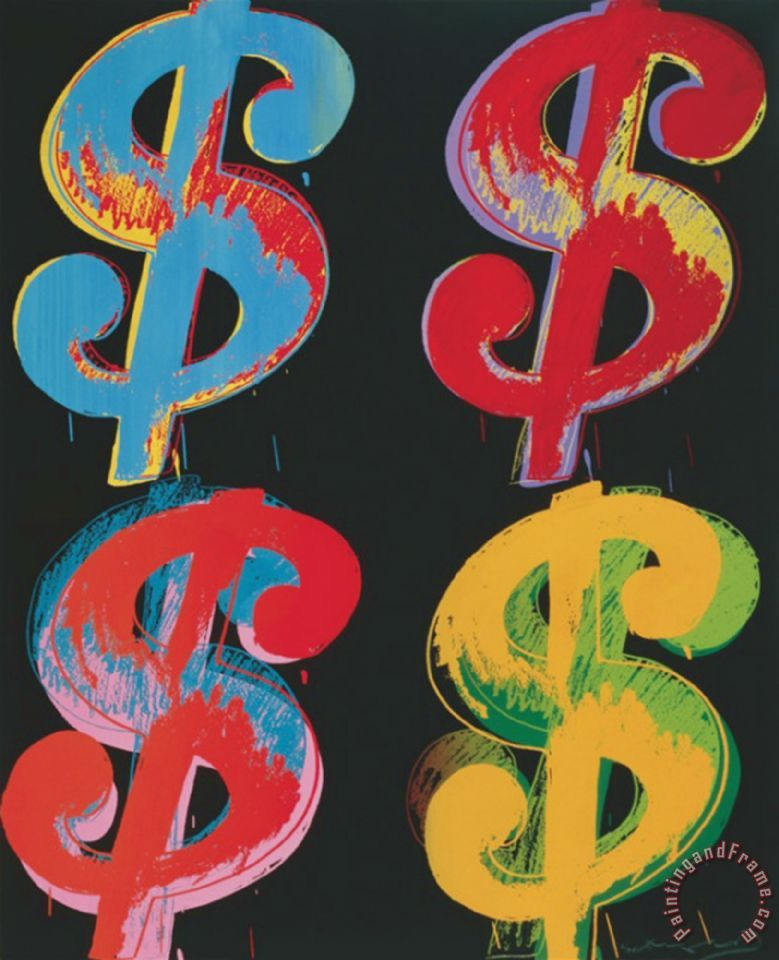 Four Dollar Signs C 1982 Blue Red Orange Yellow Painting Andy Warhol