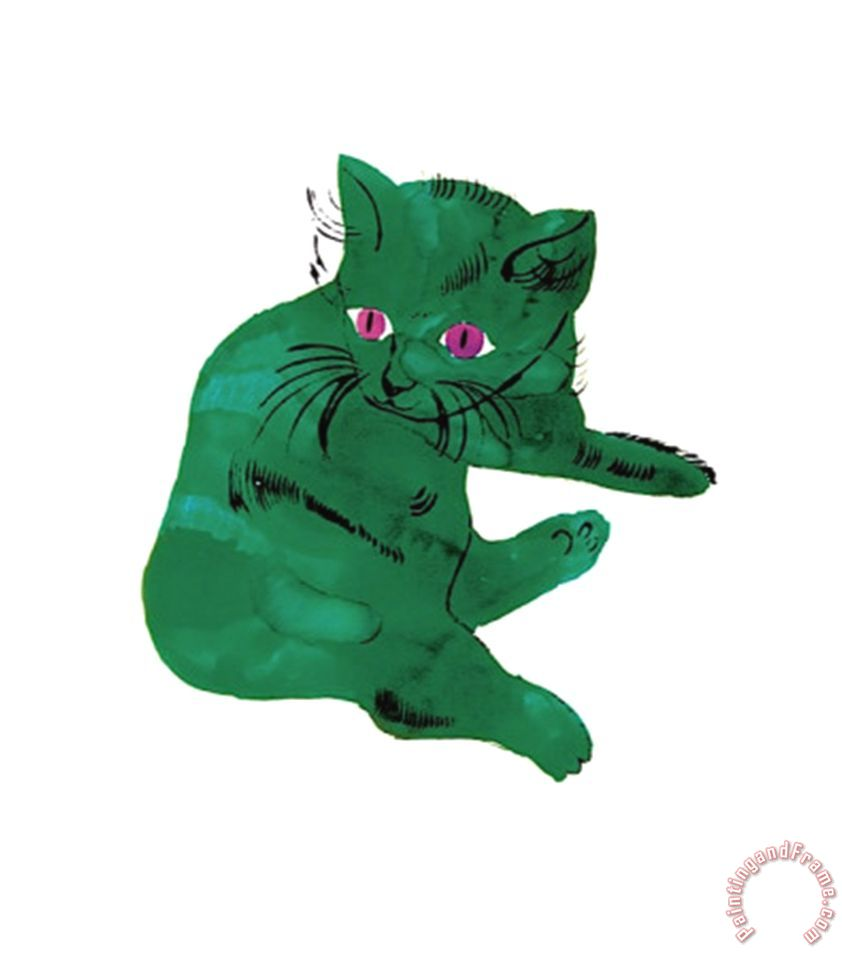 Andy Warhol Green Cat C 1956 Painting Green Cat C 1956