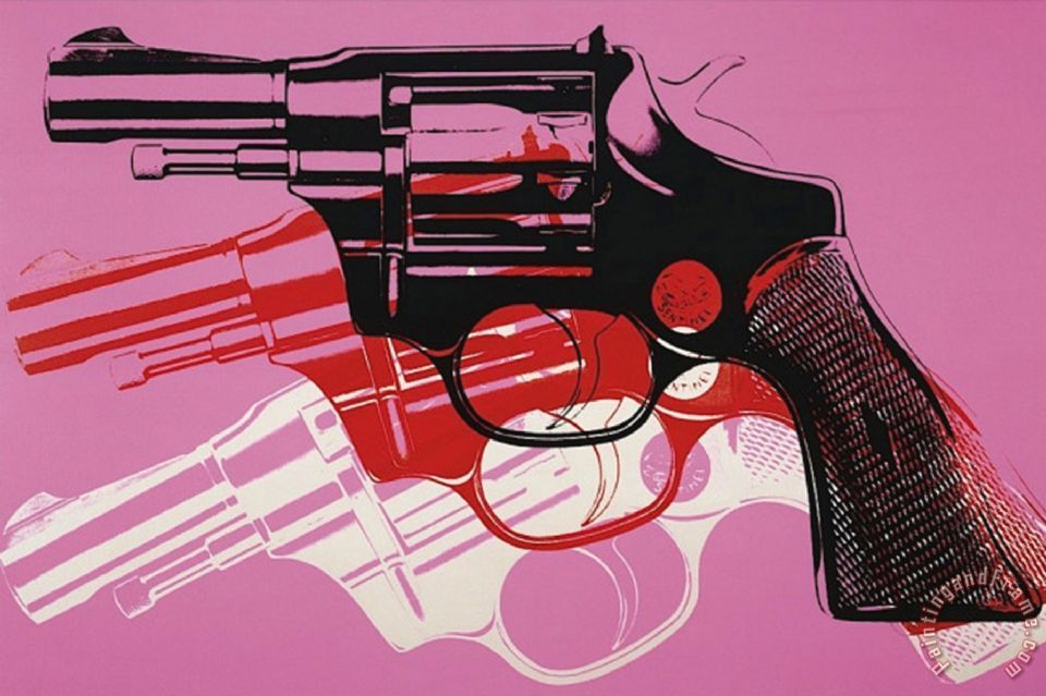 Gun C 1981 82 Black White Red on Pink painting - Andy Warhol Gun C 1981 82 Black White Red on Pink Art Print