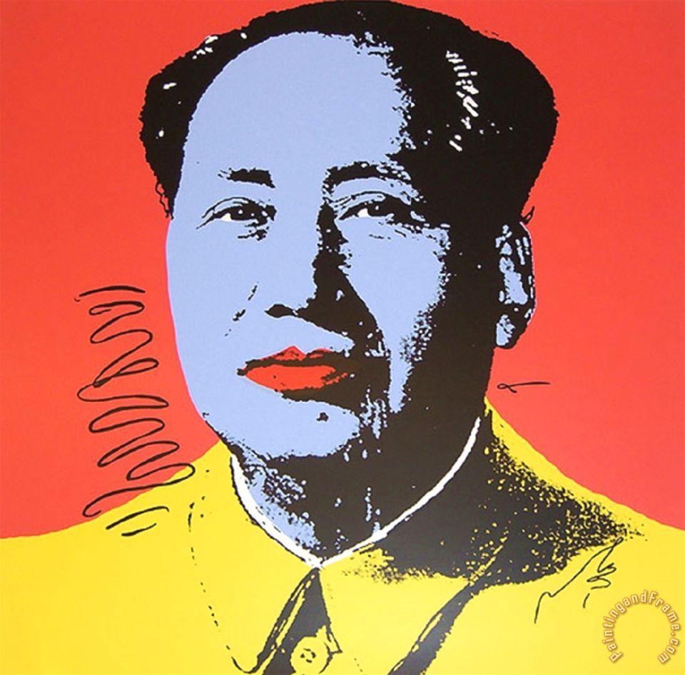 Andy Warhol Mao Tse Tung Kopf Blau Gelb Art Print For Sale