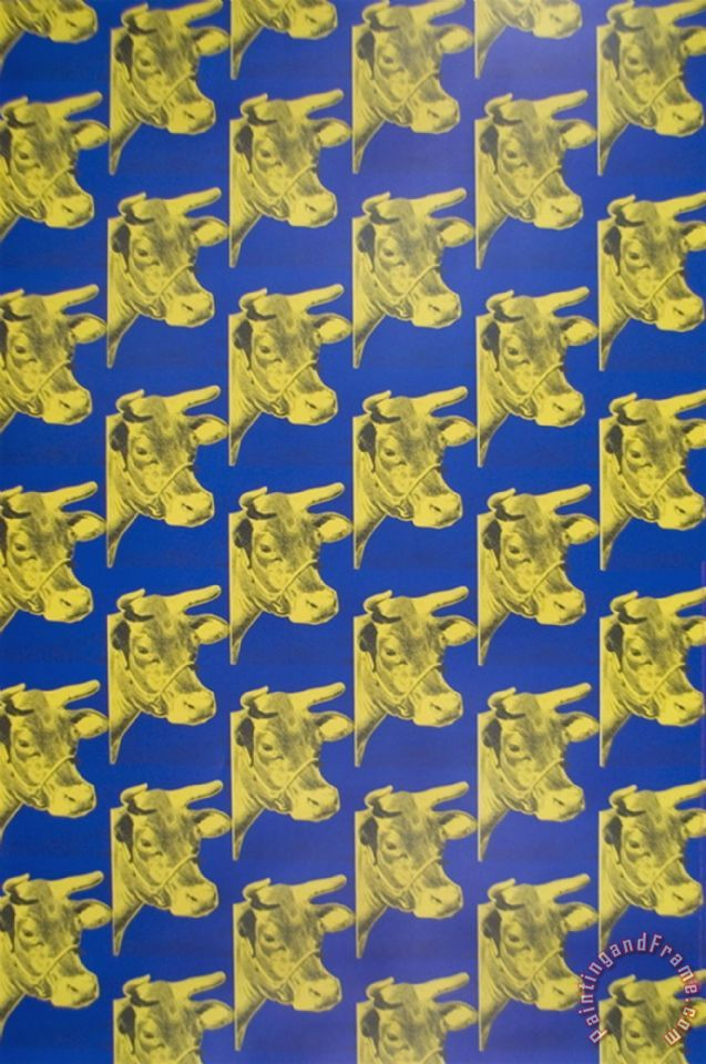 Andy Warhol Multiple Cows Blue painting - Multiple Cows Blue print ...