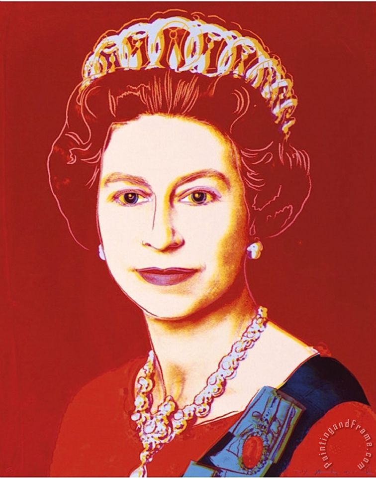 Reigning Queens Queen Elizabeth II of The United Kingdom C 1985 Light Outline painting - Andy Warhol Reigning Queens Queen Elizabeth II of The United Kingdom C 1985 Light Outline Art Print
