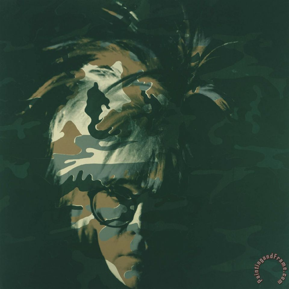 andy warhol self portrait 1986 brown camo painting self portrait 1986 brown camo print for sale. Black Bedroom Furniture Sets. Home Design Ideas