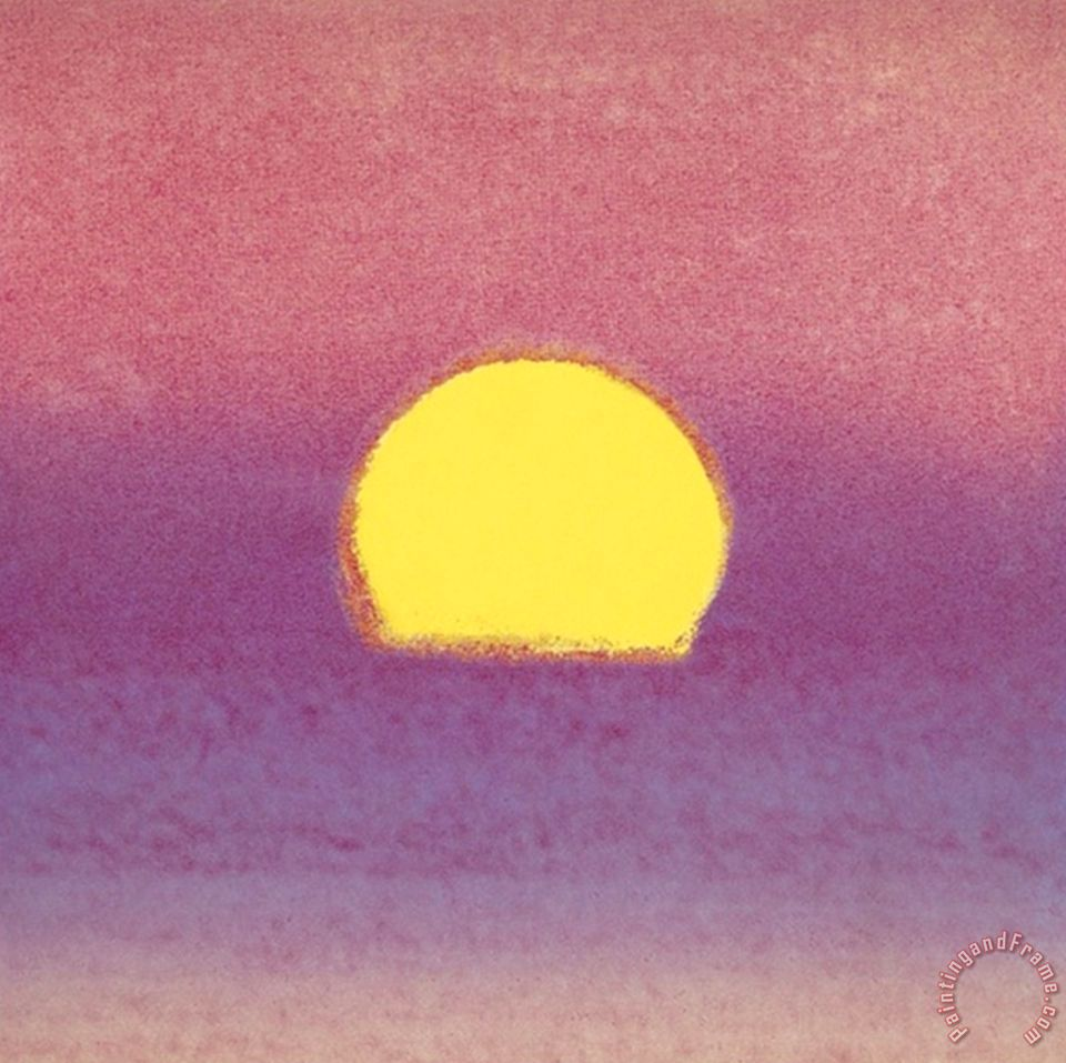Andy warhol sunset c 1972 pink purple yellow painting for Purple and yellow painting