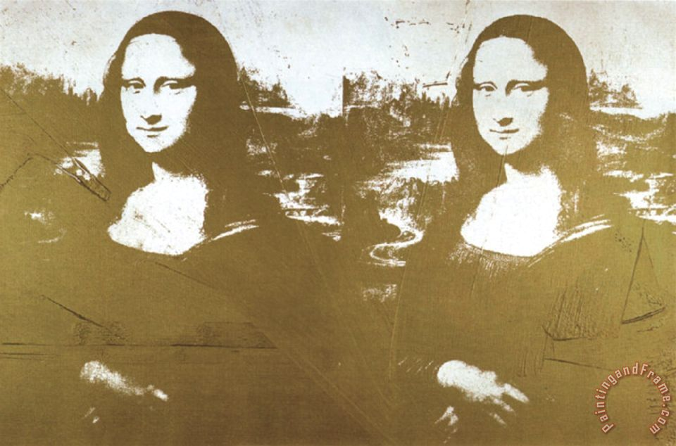 Super Andy Warhol Two Golden Mona Lisas painting - Two Golden Mona Lisas @RK_45