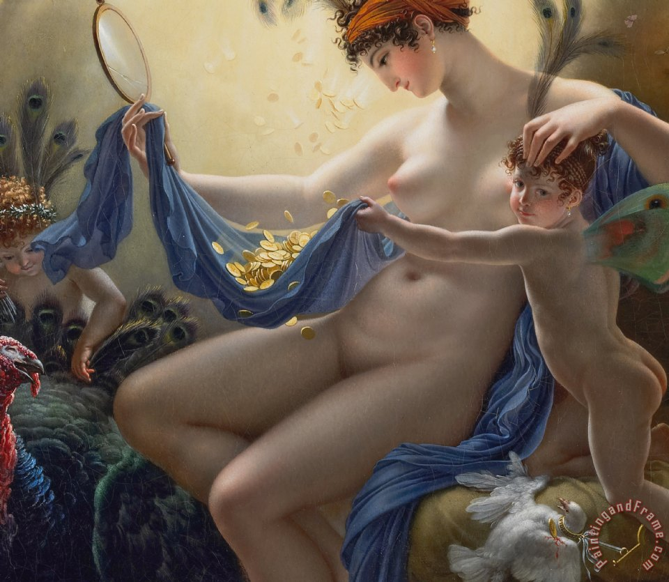 Portrait Of Mademoiselle Lange As Danae painting - Anne Louis Girodet de Roucy-Trioson Portrait Of Mademoiselle Lange As Danae Art Print