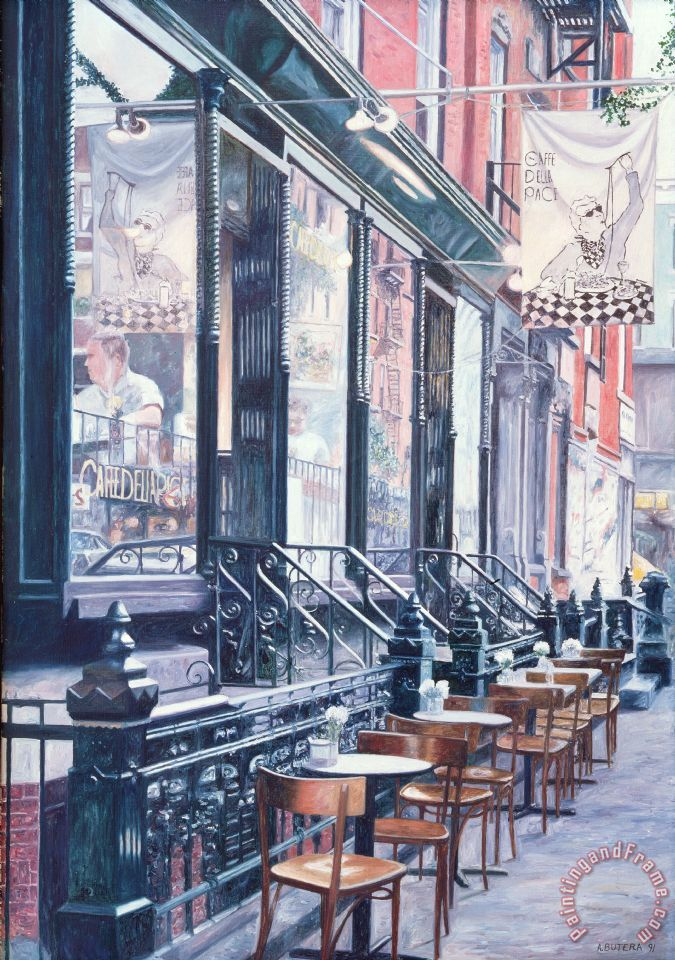 Anthony Butera Cafe Della Pace East 7th Street New York City Painting Cafe Della Pace East 7th
