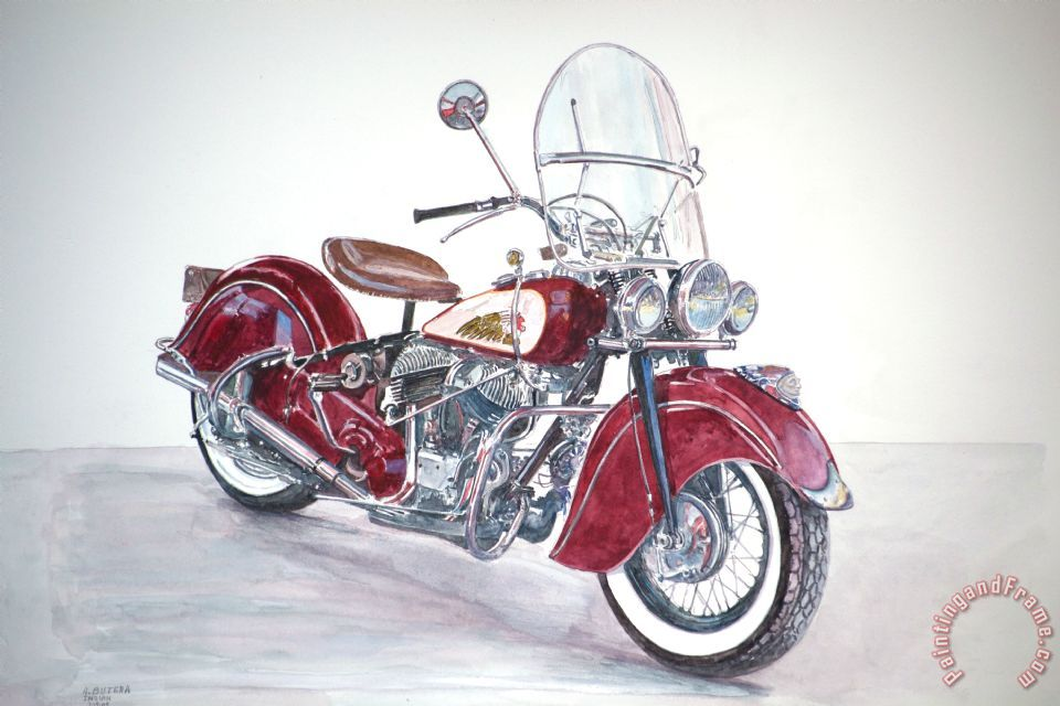 Indian Motorcycle painting - Anthony Butera Indian Motorcycle Art Print