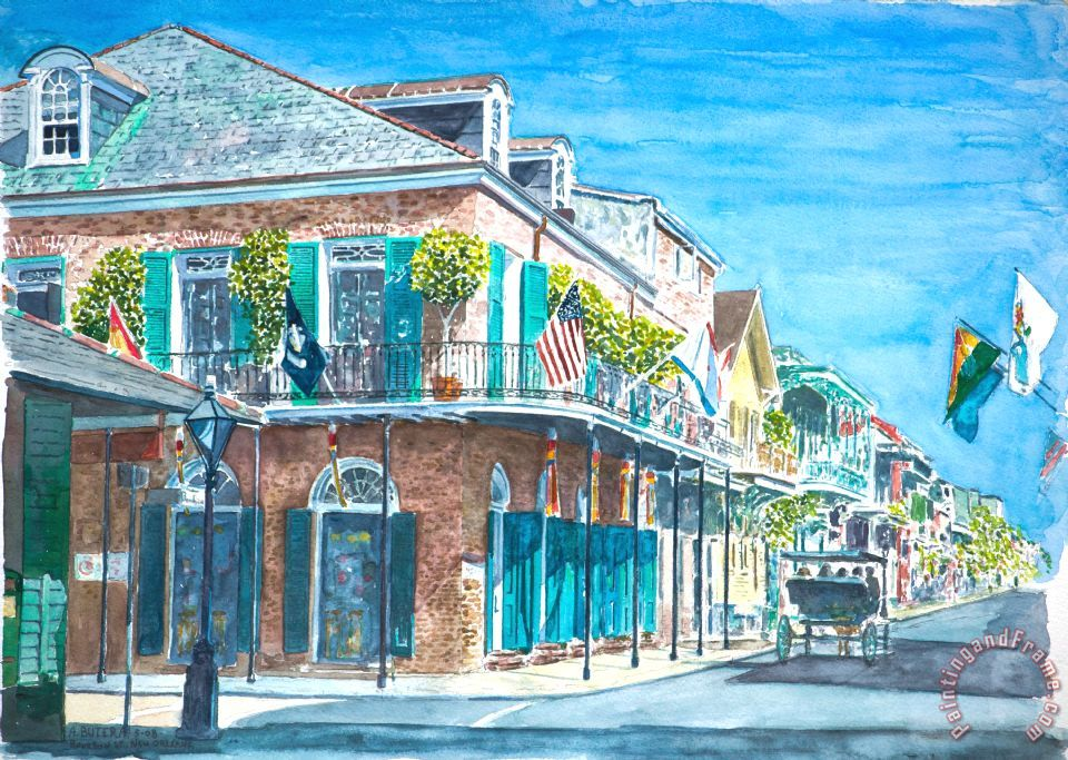 New Orleans Bourbon Street painting - Anthony Butera New Orleans Bourbon Street Art Print